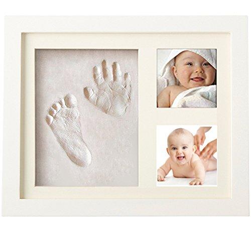 Bilderrahmen für Spuren von Bebe Hand und Fuß mit 2. Rahmen aus weiß und Sicherheitsglas