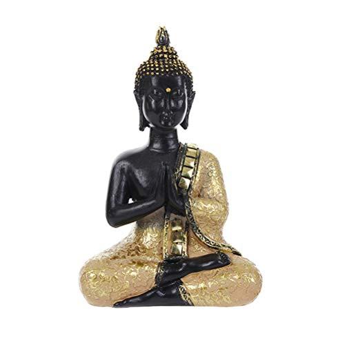 Skulpturen Home Decor (BESPORTBLE Sitzende Buddha Statue Zen Geste Thai Buddha Figur Skulptur Home Office Decor Indoor Statue Feng Shui Ornament Handwerk)