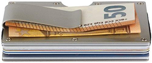 Kartenetui mit Geldklammer und RFID Schutz | Kreditkartenetui aus Aluminium mit Pop-Up Funktion | Mini Geldbörse mit Geldscheinklammer | Portemonnaie Damen | Geldbeutel Herren Geschenk - Card Geld Clip Holder Magnet