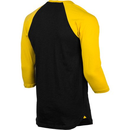 FALLEN T-Shirt CRAWFORD 3/4 sleeve flat black/galaxy yellow