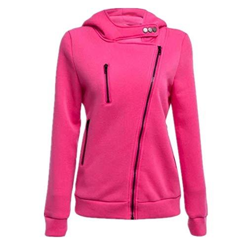 SXZG Damen Herbst und Winter Mantel lässig einfarbig Shirt vierfarbig diagonal Reißverschluss Kapuzenpullover -