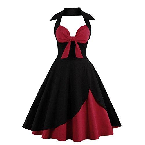 V Vestido de Bowknot de una Sola Pieza Vestidos Sin Mangas...