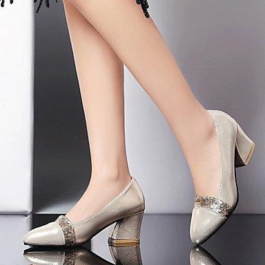 Talloni delle donne Primavera Estate Comfort similpelle vestito casuale tacco grosso con fibbia argento oro nero camminare US9 / EU40 / UK7 / CN41