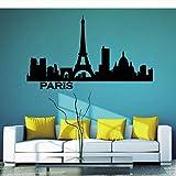 Wandaufkleber Paris Horizon Paris Paysage Urbain Silhouette Vinyle Autocollant Mural Bureau Collège Dortoir Salon Décoration De La Maison Sticker