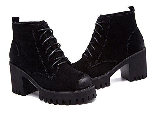 Damen Sneakers Rundzehen Plateau Blockabsatz Retro Winter Stiefeletten Schwarz