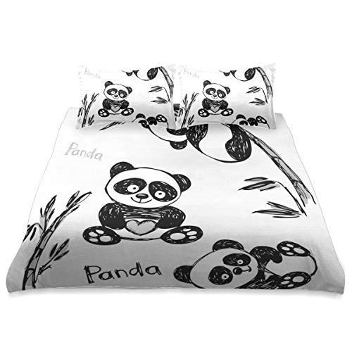 ZORMIEY Ropa de Cama - Juego de Funda nórdica,Alegre Panda Diferentes Poses con bambú Rama niños...