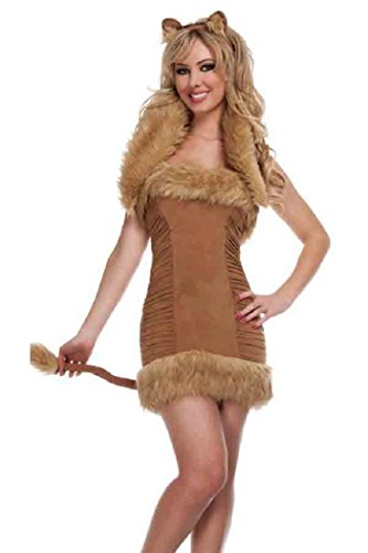 Neue Damen Fell Fox Tier Cosplay Fancy Dress Hen Night Halloween Party Größe UK 10–12 EU 38–40 (Fox Schwanz Und Ohren)
