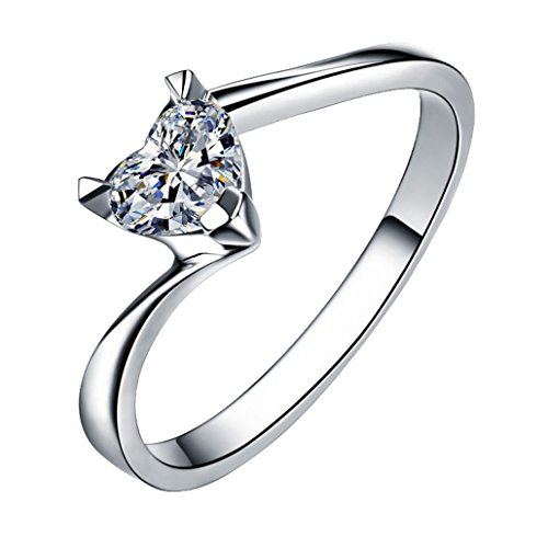 DEHANG - Anillo de Plata de Pareja Mujer Hombre con Circonitas Diamantes de Compromiso Alianza Boda Aniversario regalo San Valentín - Diseño de Corazón - Talla 15 - con caja