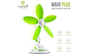 TANTRA Wave Plus Smart Portable Table Fan (3-in-1 style: clip, wall-mount or detachable table stand) Silent Portable Clip Fan