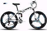 KTM Bicicleta de montaña Bicicleta Plegable Rueda de 24-26 Pulgadas, Tres Opciones de Cambio (21-24-27), neumático Especial Todoterreno,White,24' 27speedchange