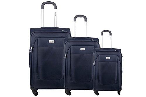 3 Maletas semirrígidas PIERRE CARDIN azul cabina para viajes S283