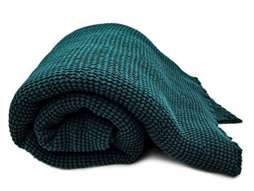 Plaid - Couverture de lit - XXL - Mélange de lin - « délavé » - Prélavé, vert foncé, 220 x 280 cm