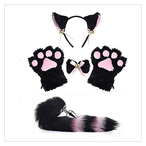 Z-one 1 Katze/Fuchs Ohren Cosplay Kost¨¹m K?tzchen Bunny Girl Short Pl¨¹sch Schwanz Stirnband Cat Paws Lolita Anime Gothic Training Set (Black & Pink)