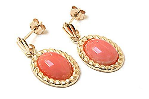 14 - Pendientes de oro de 9quilates, color coral con bordes gezwirbelter