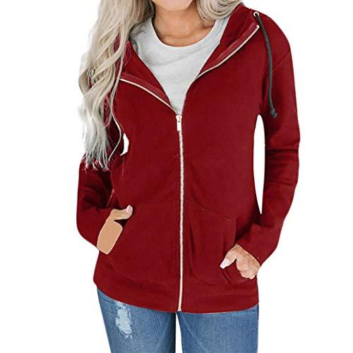 Easy Go Shopping Frauen Mode Reißverschluss Langarm Sweatshirt Mantel Outwear Mit Kapuze Custom Fit Jacke Mantel Kleidung und Hose (Color : Wein, Size : XL)