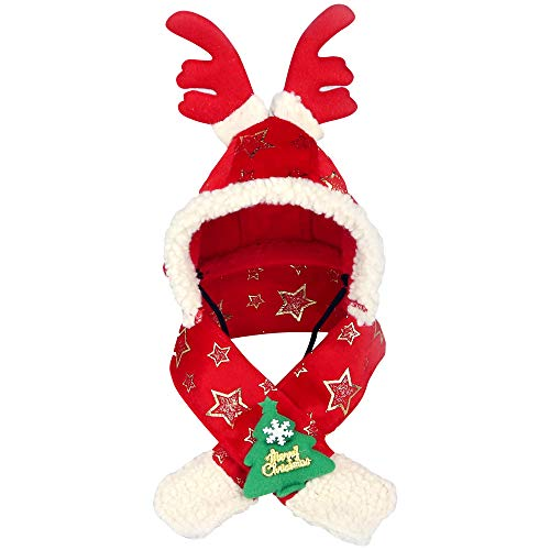 (Wiwi Pet Caps Reindeer Costume Hats Cosplay Cat Puppy Hair Accessories Christmas (XL, Red))