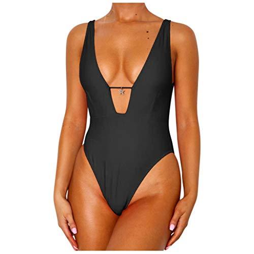 TwoCC Frauen Solide Hoch Taillierte Bikini Tiefem V-Ausschnitt EIN Stück Push-Up-Badeanzug Badeanzug(Schwarz,S) (Schwarz, S)