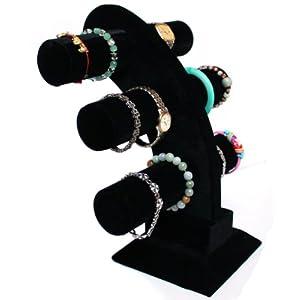 bogenförmig Schmuckständer mit 3 Rollen für Uhren Armband Samt