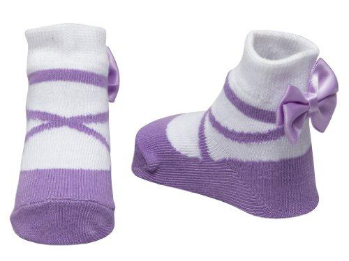 Baby Emporio-1 paio calzini del bambina ragazza - sacchetto regalo- -0-9 mesi (Ballerina Lavanda)