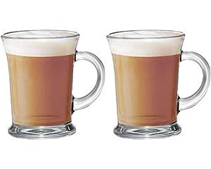 Get Goods Set Of 2 New Essentials Large Glass Tea Coffee Latte Hot Chocolate Cups Mugs Glasses Set