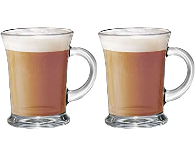 Get Goods Set Of 2 New Essentials Large Glass Tea Coffee Latte Hot Chocolate Cups Mugs Glasses Set
