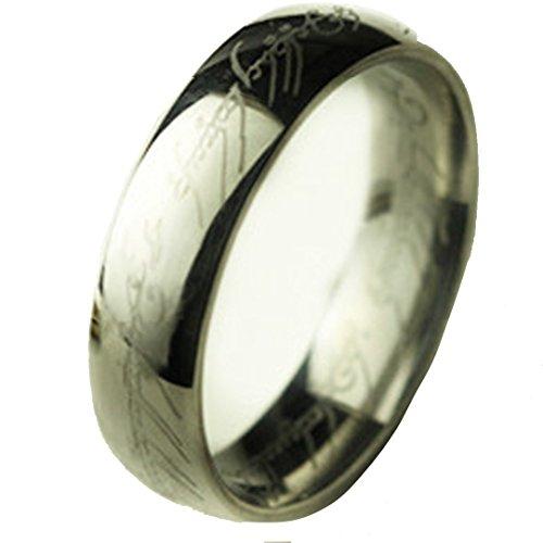 Hypoallergener Titan-Edelstahl Ring Silber Damen- und Herrenring leicht (Schalkragen-hosen-anzug)