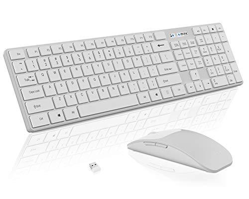 Kabellose Tastatur- und Maus Kombination, 104 Tasten,Full Size Design,Nano-USB-Empfänger,Tastatur Maus Kabellose,2.4G-Maus mit Stabiler Verbindung,Plug-and-Play,für Windows(UK Layout) M-T-K