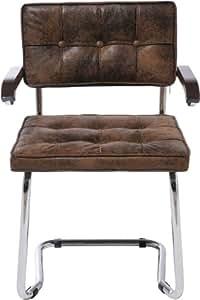 Lot de 5 chaises cuir marron vintage avec accoudoirs Swing (simili cuir)