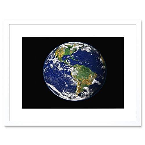 EARTH THE BLUE MARBLE BLACK FRAMED ART PRINT B12X2413