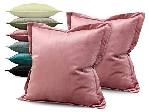 npluseins Doppelpack - Kira Samtkissenhülle - mit Stehsaum und Changiereffekt - Moderne Wohndekoration in dezentem Design - erhältlich in 6 Farben und 3 Größen, 48 x 48 x 2 cm, Altrosa -