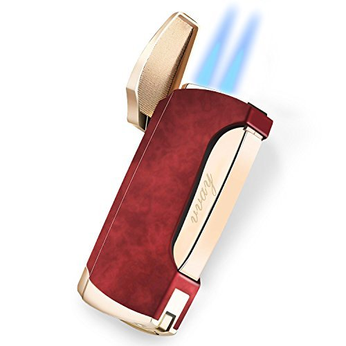 Zigarren Feuerzeuge, VVAY Sturmfeuerzeug Jetflamme Gas Butane Nachf&uumlllbar Turbo Doppelflamme Windfestes f&uumlr M&aumlnner Rot (Verkauft Ohne Gas )