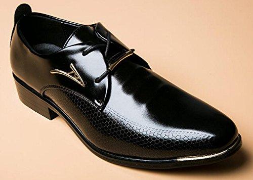 HYLM Uomo In Pelle Lace-up A punta Le Dita Dei Matrimoni Business Oxfords Shoes Black