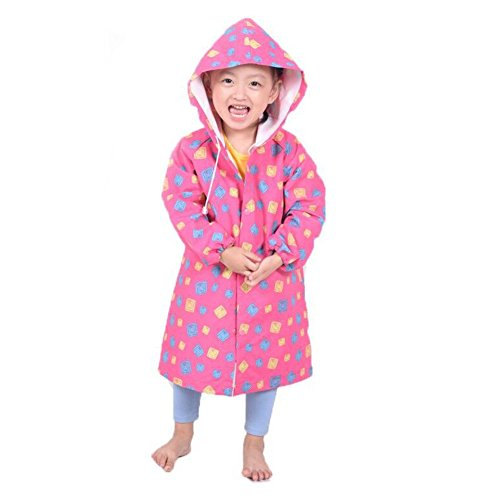 Regenmantel Kinder Wasserdicht Unisex-Baby Wasserdichter Bedruckte Regenjacke mit Kapuze für Jungen Mädchen Rosa/2XL