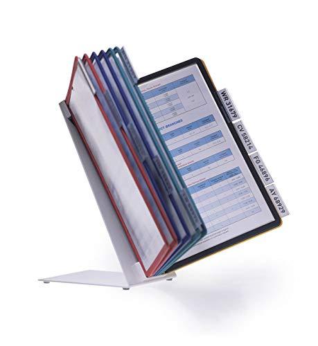 Durable 557000 Tisch-Sichttafelsystem (Vario Table 10, mit 10 Sichttafeln A4) mehrfarbig
