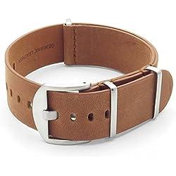DASSARI Veteran Italian Leather G10 NATO Zulu Watch Strap in Vintage Tan 26mm
