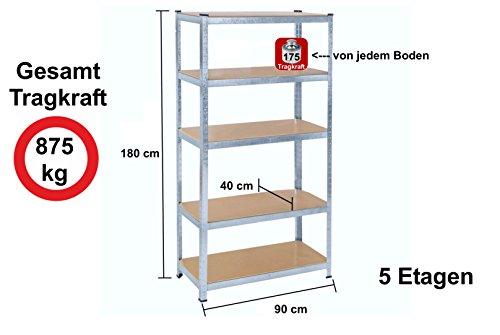 Lagerregal Schwerlastregal Steckregal Kellerregal 875kg verzinkt 180x90x40cm Garagenregal Izzy Sport