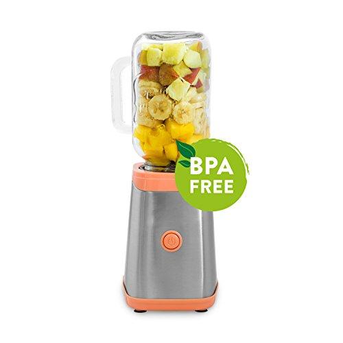RESTPOSTEN | Mason Jar Smoothie Maker 350W, Edelstahl Mini-Standmixer, Shaker, Blender mit 2 Trinkgläsern und Tritan Trinkflasche (0,6 l) inkl. Neoprenhülle - rosa - Jars Mini-plastik-mason