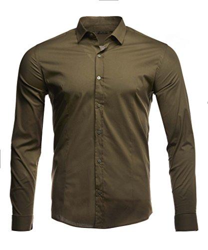 LEIF NELSON Herren Hemd Slim Fit Langarm Bügelleicht modernes Freizeithemd für Anzug Business Hochzeit Freizeit Party