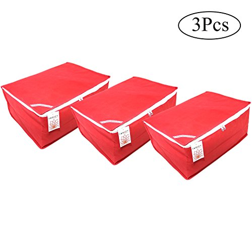 Saree Cover Bags Plain Box Type Red 3 pc set Non Woven fabric with Zip combo   Dustproof Durable water resistant single sari packing Bag  Easy Storage of sarees in Cupboard wardrobe  Travel organiser  Marriage wedding Gifting giveaway purpose sareecover by INDOZY RPBC-3