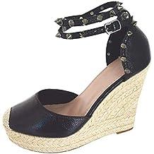 Minetom Sandalias Mujer Cuña Alpargatas Bohemias Romanas Sandals Rivet Playa Verano Tacon Planas Zapatos Casual Moda