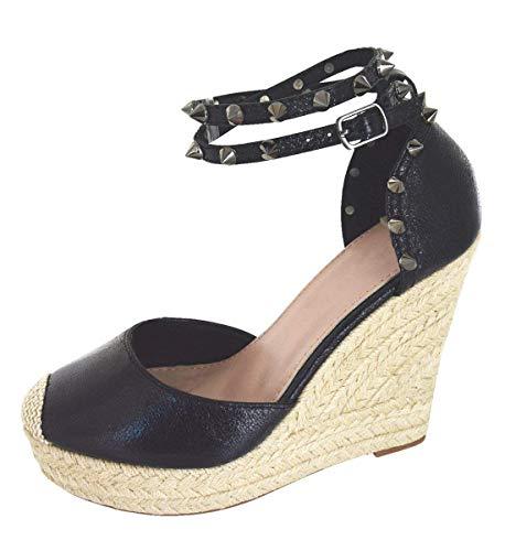 Minetom Sandali Romani Donna Estivo Eleganti Tacco Zeppa Espadrillas Caviglia Rivetto Benda Moda Casual Sexy High Heels Sandals Nero EU 35