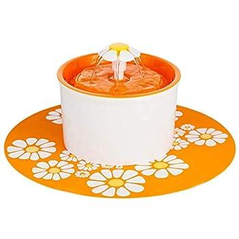 CJN Tapis De Sol en Silicone Imperméable pour Distributeur d'eau pour Fontaine d'eau Filtre Rond Ultra-Silencieux en Résine PP Ronde (Vert, Orange, Bleu),Orange