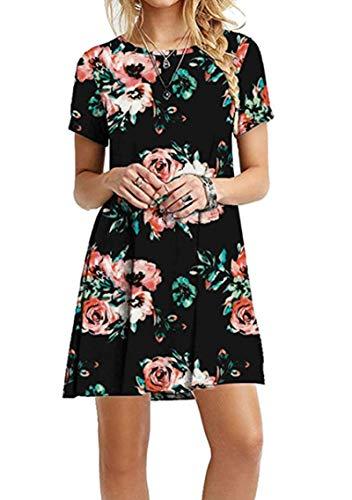 YMING Damen Sommer Kleid Casual Blusenkeid Lose Kurzarm Tunika Plus Größe,Schwarz Rot Blumen,XXXL/DE 46 (Rote Kleider In Plus-größe)