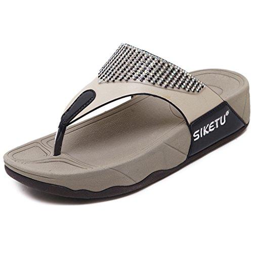 18539e6d0c796b Minetom Femme Strass Bohème Sandales Mode Été Tongs Flip Flops Talon Plates  Compensées Chaussure Plage Vacances