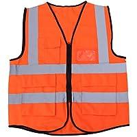 VORCOOL Chaleco de montar en bicicleta de alta visibilidad Chaleco de seguridad reflectante de bolsillo múltiple Chaqueta para la construcción al aire libre Seguridad en el trabajo Trabajador de saneamiento del tráfico vial (naranja)