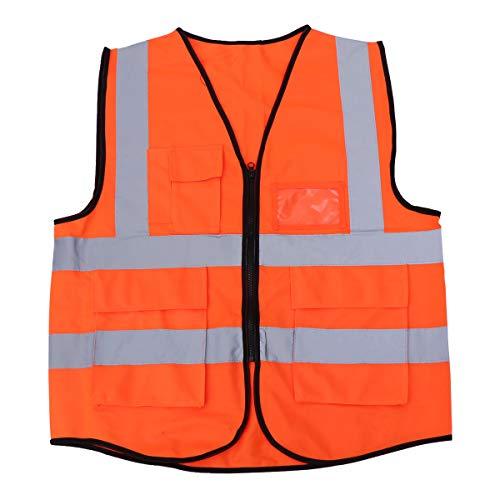 BESPORTBLE Hohe Sichtbarkeit Radfahren Reiten Weste mehrfach reflektierende Sicherheitsweste Jacke für Outdoor BAU Arbeit Sicherheit Straßenverkehr Sanitär Arbeiter (Orange)