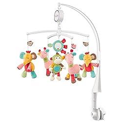 Fehn 074291 Musik-Mobile Safari – Spieluhr-Mobile mit bunten Safari-Tieren zum Lauschen & Staunen – Zum Befestigen am Bett für Babys von 0-5 Monaten – Höhe: 65 cm, ø 40 cm