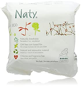 Naty Bio Sanitary Towels Night, 10 Towels