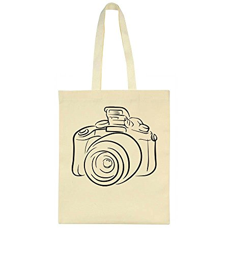 idcommerce Vintage Photo Camera Linear Design Tote Bag Linear Video