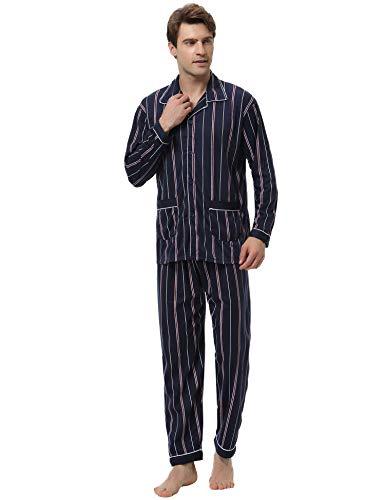Aibrou pigiama uomo estivo lungo, pigiama set uomo manica lunga in cotone, pigiama tinta unita uomo, pigiama due pezzi uomo con bottoni